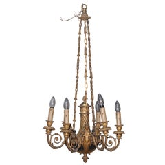 Louis XVI Style Ormolu and Patinated 6-Light Chandelier by Alfred Beurdeley