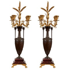Louis XVI Style Ormolu and Rouge Griotte Marble Four-Light C