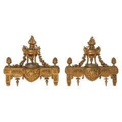 Louis XVI Style Ormolu Chenets