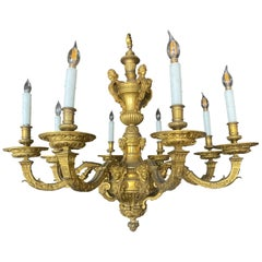 Louis XVI Style Ormolu Eight-Light Gilt Bronze Chandelier