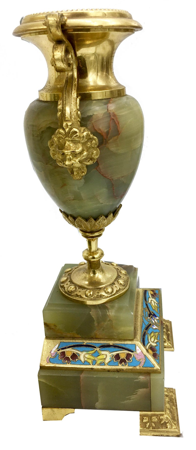 French Louis XVI Style Ormolu, Enamel and Onyx Mantle Clock Set, 19th Century For Sale