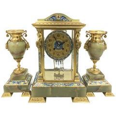 Louis XVI Style Ormolu, Enamel and Onyx Mantle Clock Set, 19th Century