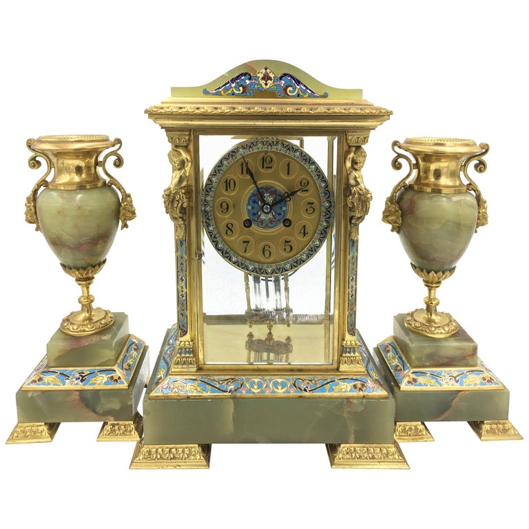 Louis XVI Style Ormolu, Enamel and Onyx Mantle Clock Set, 19th Century For Sale