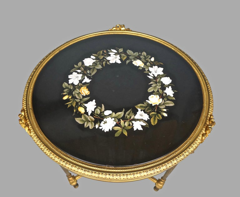 French Louis XVI Style Ormolu Gueridon with Floral Pietra Dura Top For Sale