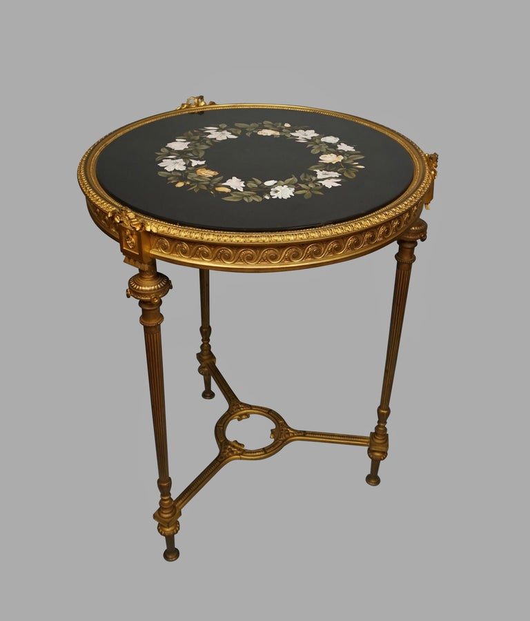 19th Century Louis XVI Style Ormolu Gueridon with Floral Pietra Dura Top For Sale