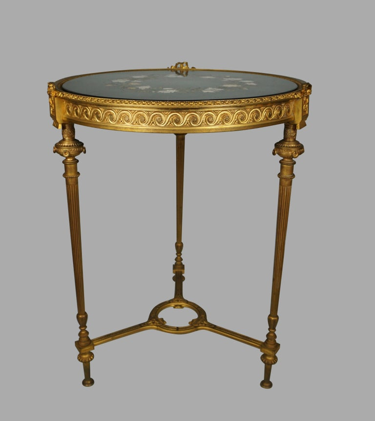 Marble Louis XVI Style Ormolu Gueridon with Floral Pietra Dura Top For Sale