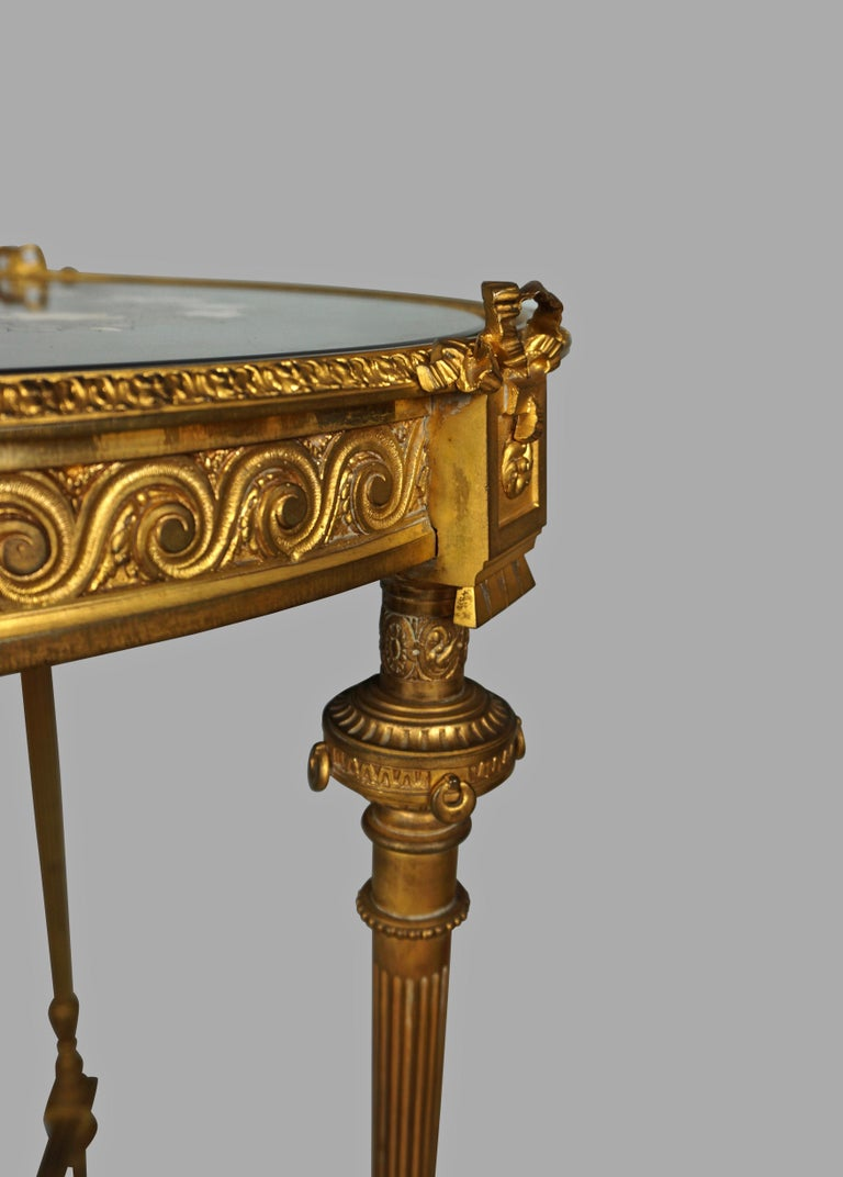 Louis XVI Style Ormolu Gueridon with Floral Pietra Dura Top For Sale 2