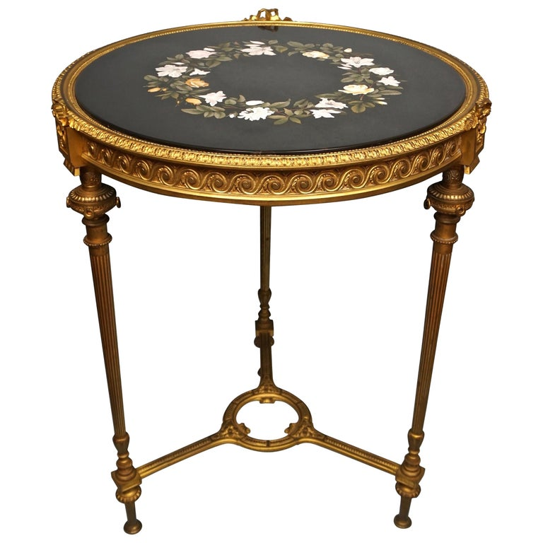Louis XVI Style Ormolu Gueridon with Floral Pietra Dura Top For Sale