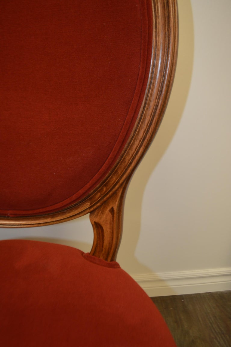 Stained Louis XVI Style Oval Back Dining Chair, Washable Velvet Fabric for Custom Order For Sale
