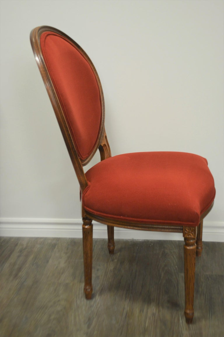 Louis XVI Style Oval Back Dining Chair, Washable Velvet Fabric for Custom Order For Sale 3