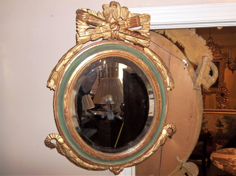 Louis XVI Style Paint and Giltwood Looking Glass Mirror with Bevelled Plate For Sale 6