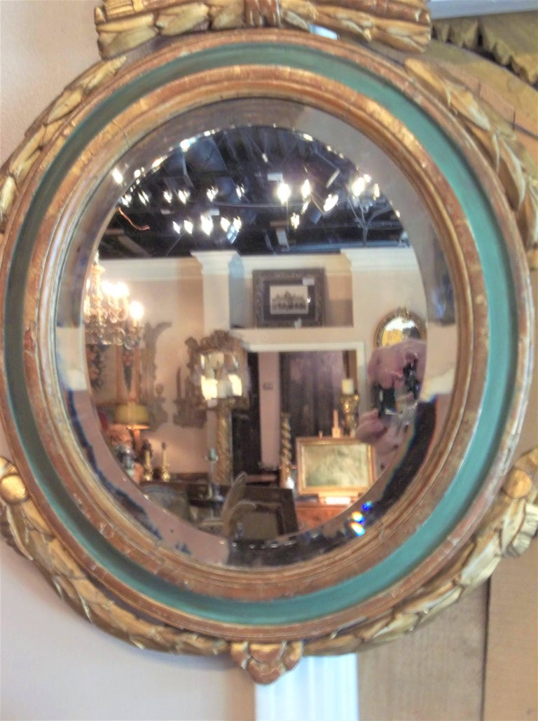 Early 20th Century Louis XVI Style Paint and Giltwood Looking Glass Mirror with Bevelled Plate For Sale