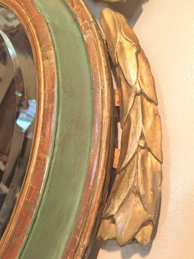 Louis XVI Style Paint and Giltwood Looking Glass Mirror with Bevelled Plate For Sale 1
