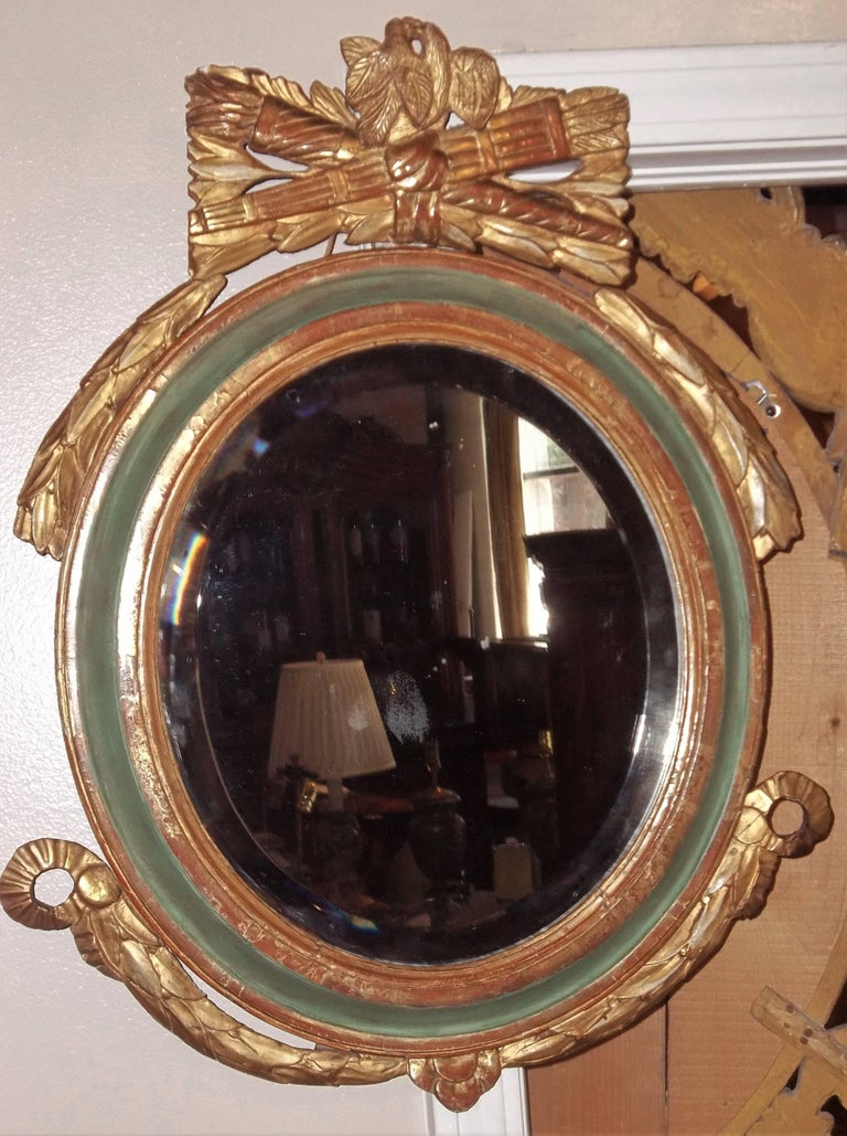 Louis XVI Style Paint and Giltwood Looking Glass Mirror with Bevelled Plate For Sale 2