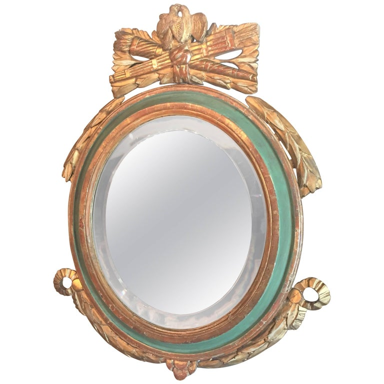 Louis XVI Style Paint and Giltwood Looking Glass Mirror with Bevelled Plate For Sale