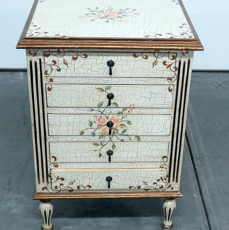 Louis XVI style distressed paint decorated 5 drawer commode.