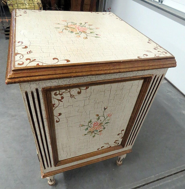 Painted Louis XVI Style Paint Decorated Commode For Sale