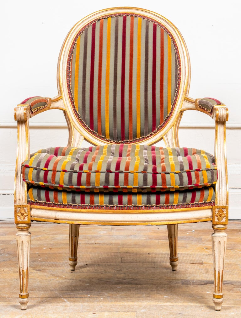 Unknown Louis XVI Style Paint Decorated Fauteuils For Sale