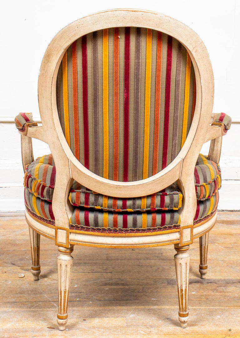 20th Century Louis XVI Style Paint Decorated Fauteuils For Sale
