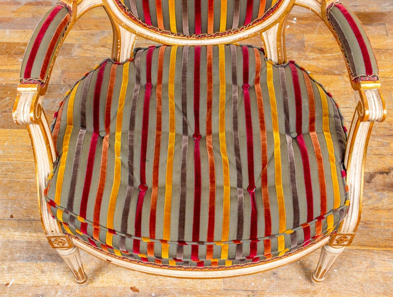 Louis XVI Style Paint Decorated Fauteuils For Sale 2