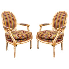Louis XVI Style Paint Decorated Fauteuils