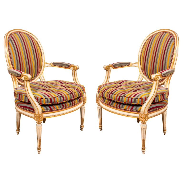 Louis XVI Style Paint Decorated Fauteuils For Sale
