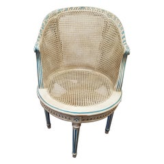 Louis XVI Style Painted and Caned Swivel Vanity Chair