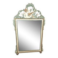 Louis XVI Style Green and White Painted and Gilt Mirror