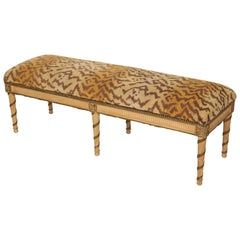 Louis XVI Style Painted and Partial Gilt Bench