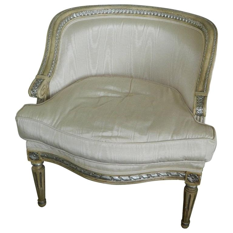 Louis XVI Style Painted Boudoir or Bergere Chair, 20th Century