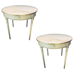 Louis XVI Style Painted Bronze Mounted Marble-Top Bouillotte Center Table, Pair