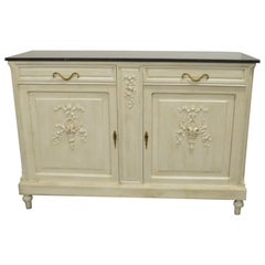 Louis XVI Style Painted Buffet with New Black Marble Top