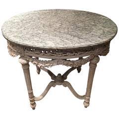 Louis XVI Style Painted Carved Fruitwood Marble-Top Center Table, 19th Century