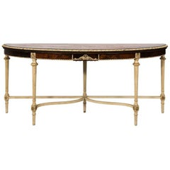 Louis XVI Style Painted Demi Lune Table or Console
