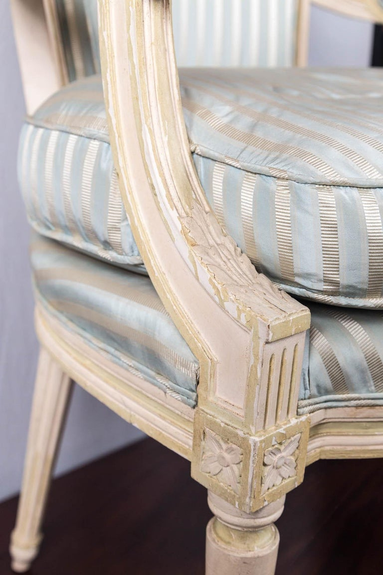 20th Century Louis XVI Style Painted Fauteuil or Open Armchair For Sale