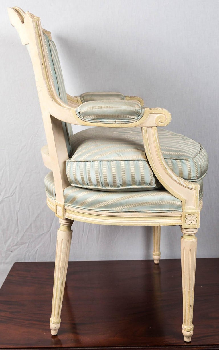 Louis XVI Style Painted Fauteuil or Open Armchair For Sale 1
