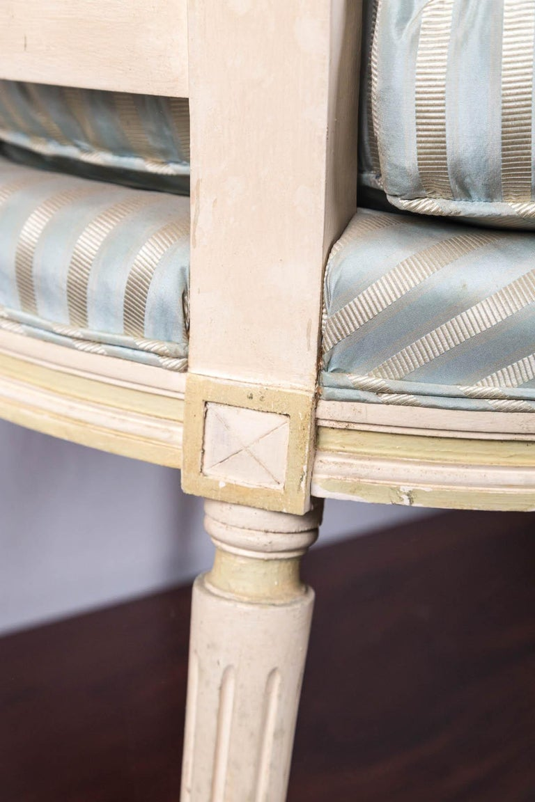 Louis XVI Style Painted Fauteuil or Open Armchair For Sale 2