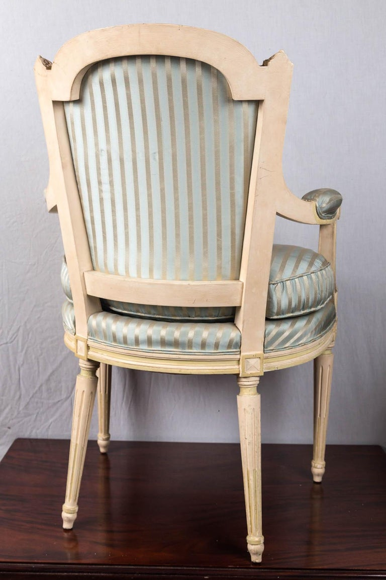 Louis XVI Style Painted Fauteuil or Open Armchair For Sale 3