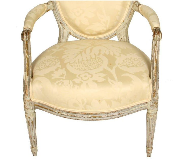 Unknown Louis XVI Style Painted Fauteuil with Oval Back For Sale