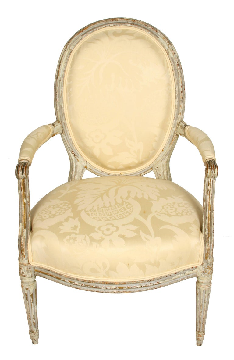 Louis XVI Style Painted Fauteuil with Oval Back In Good Condition For Sale In Locust Valley, NY