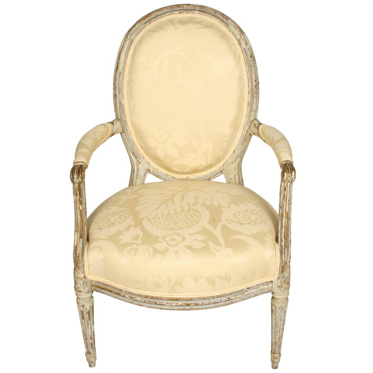 Louis XVI Style Painted Fauteuil with Oval Back For Sale