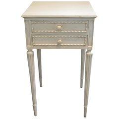 Louis XVI Style Painted Side Table, Nightstand, with Two Drawers