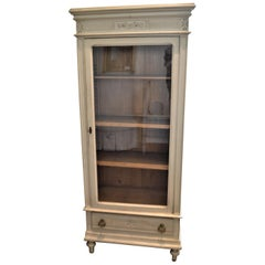 Louis XVI Style Painted Vitrine, Display Cabinet or Bookcase