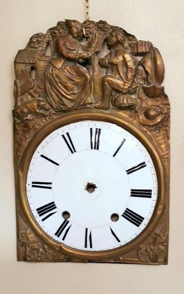 Louis XVI Style Pair of Enameled and Gilded Pediments of French Pendulum Clock For Sale 4