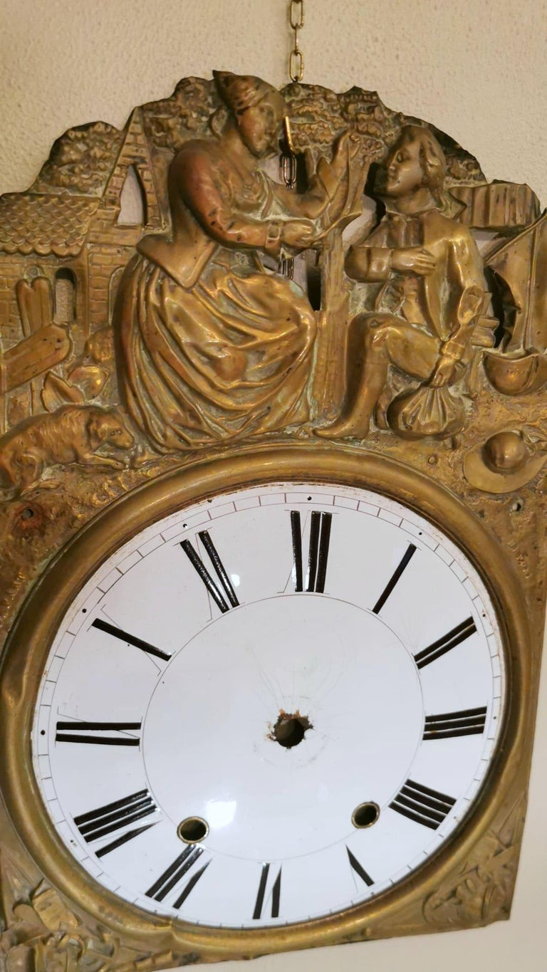 Louis XVI Style Pair of Enameled and Gilded Pediments of French Pendulum Clock For Sale 5