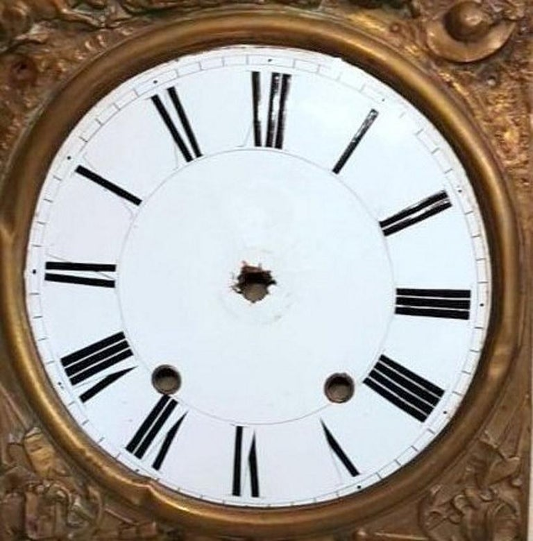 Louis XVI Style Pair of Enameled and Gilded Pediments of French Pendulum Clock For Sale 6