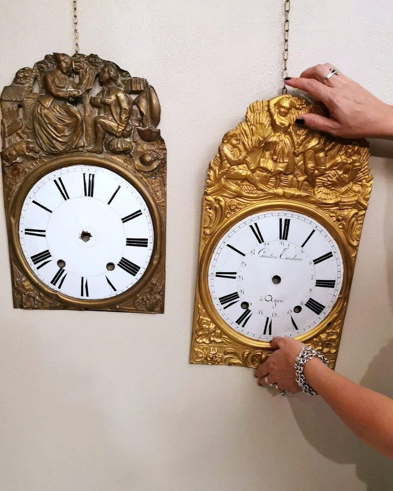 Louis XVI Style Pair of Enameled and Gilded Pediments of French Pendulum Clock For Sale 9