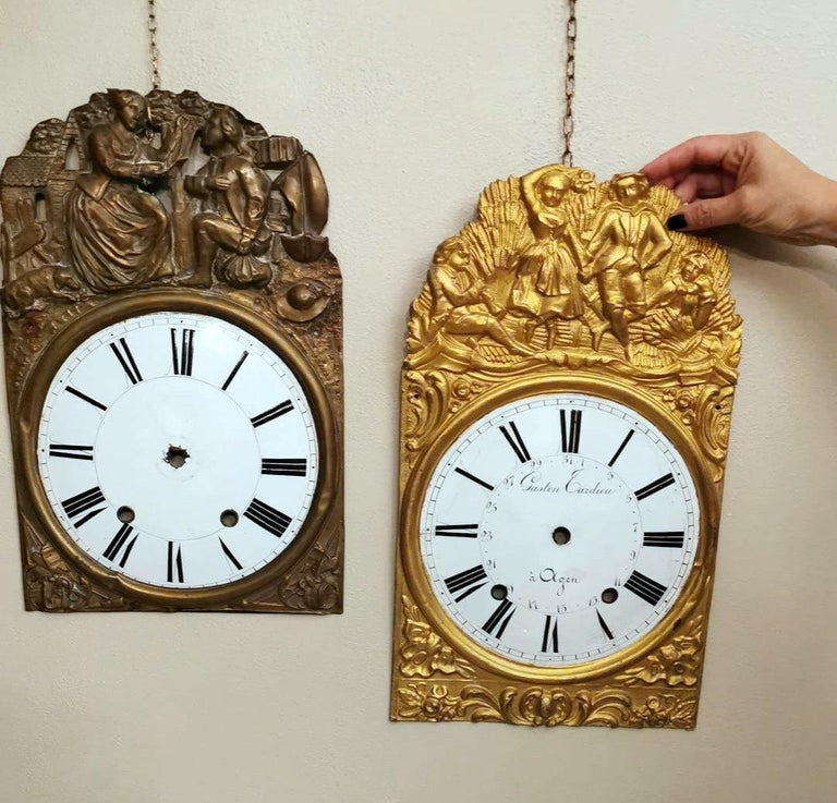 Louis XVI Style Pair of Enameled and Gilded Pediments of French Pendulum Clock For Sale 10