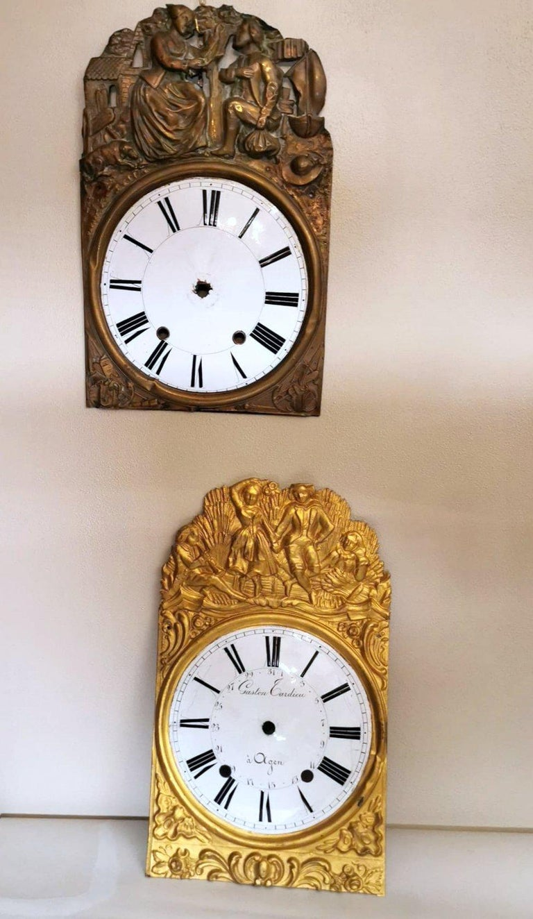 Louis XVI Style Pair of Enameled and Gilded Pediments of French Pendulum Clock In Good Condition For Sale In Prato, Tuscany