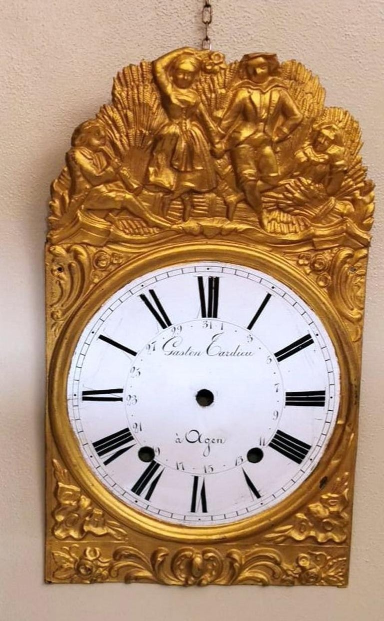 19th Century Louis XVI Style Pair of Enameled and Gilded Pediments of French Pendulum Clock For Sale